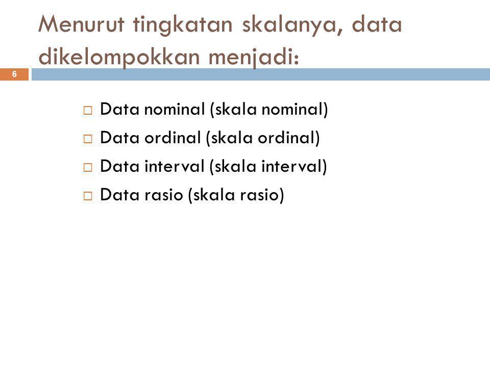Beda Statistik dan Statistika : 17  Statistik adalah angka-angka yang disajikan dalam bentuk tabel atau grafik.