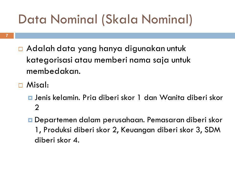Data Nominal (Skala Nominal) 7  Adalah data yang hanya digunakan untuk kategorisasi atau memberi nama saja untuk membedakan.