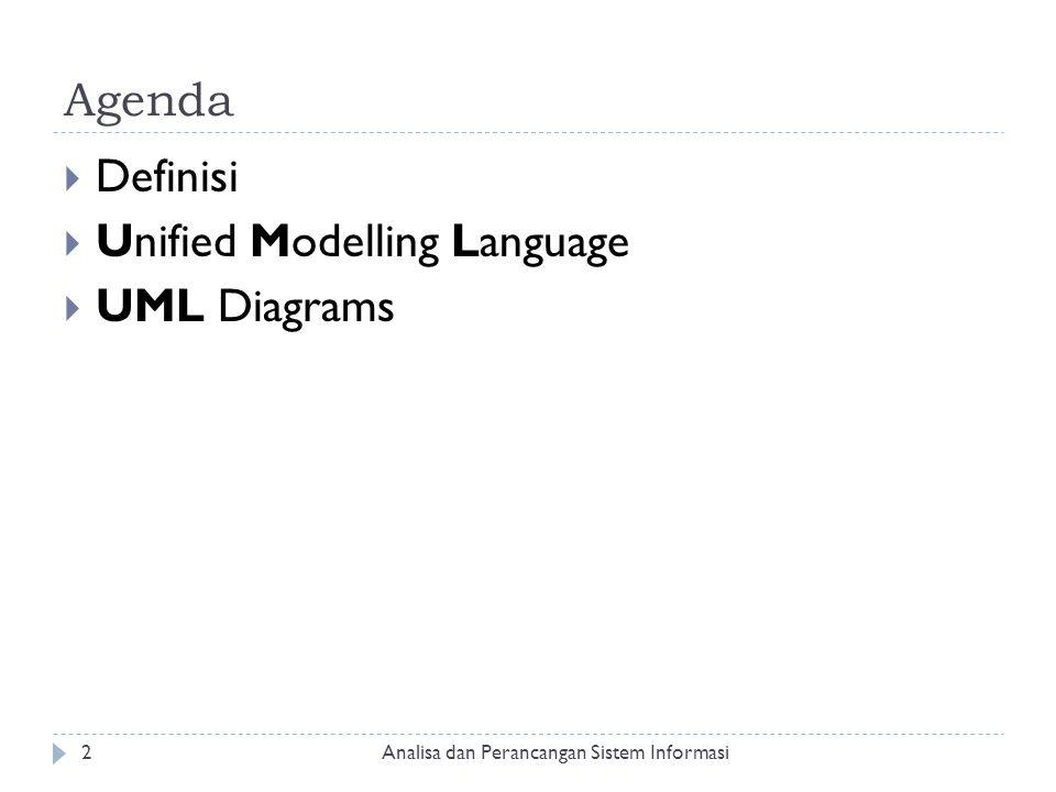 Agenda  Definisi  Unified Modelling Language  UML Diagrams Analisa dan Perancangan Sistem Informasi2