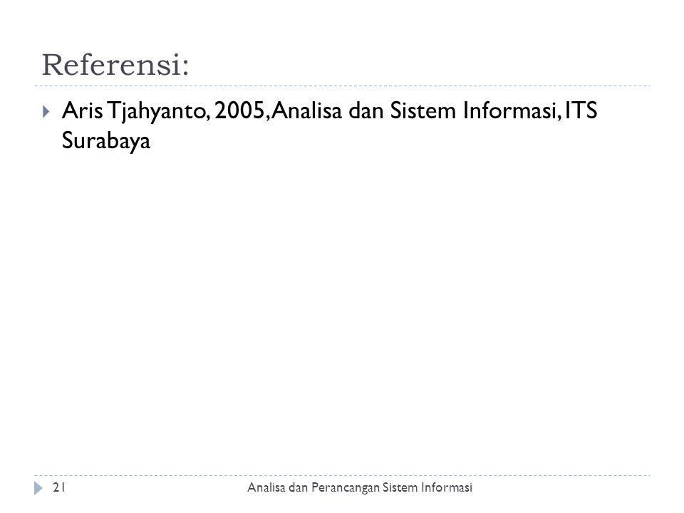 Referensi:  Aris Tjahyanto, 2005, Analisa dan Sistem Informasi, ITS Surabaya Analisa dan Perancangan Sistem Informasi21