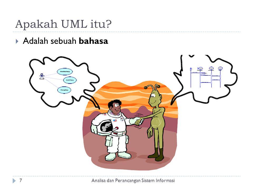 Apakah UML itu?  Adalah sebuah bahasa Analisa dan Perancangan Sistem Informasi7