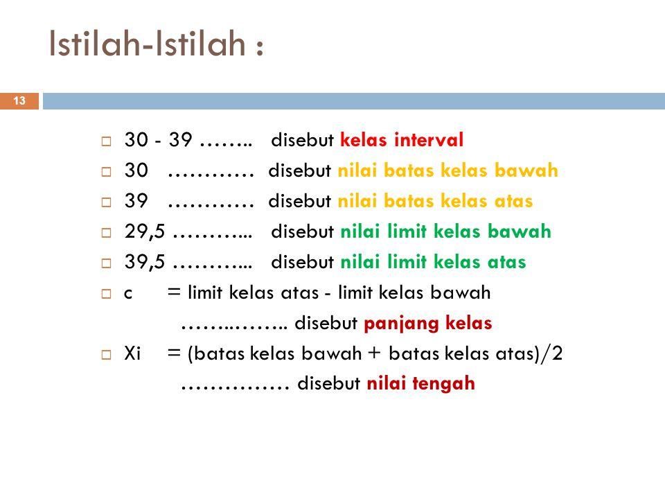 Istilah-Istilah : 13  30 - 39 …….. disebut kelas interval  30………… disebut nilai batas kelas bawah  39………… disebut nilai batas kelas atas  29,5 ………
