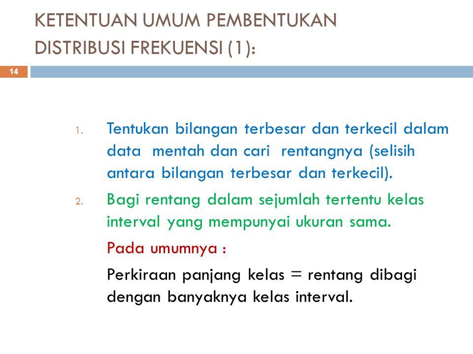 KETENTUAN UMUM PEMBENTUKAN DISTRIBUSI FREKUENSI (1): 14 1. Tentukan bilangan terbesar dan terkecil dalam data mentah dan cari rentangnya (selisih anta