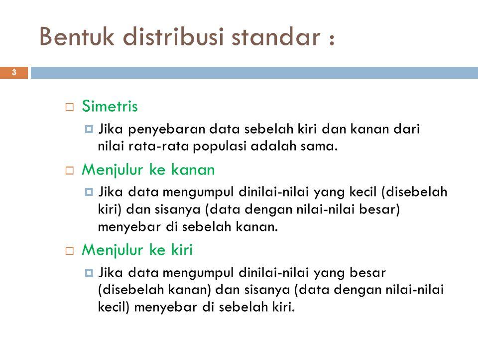 Bentuk distribusi standar : 3  Simetris  Jika penyebaran data sebelah kiri dan kanan dari nilai rata-rata populasi adalah sama.  Menjulur ke kanan