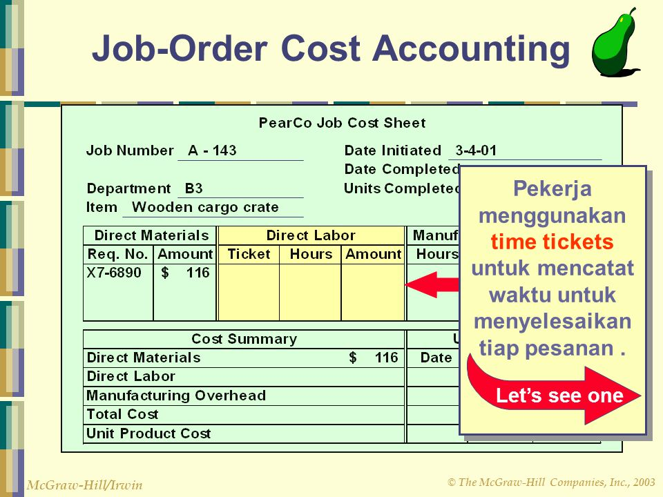 © The McGraw-Hill Companies, Inc., 2003 McGraw-Hill/Irwin Job-Order Cost Accounting Pekerja menggunakan time tickets untuk mencatat waktu untuk menyel