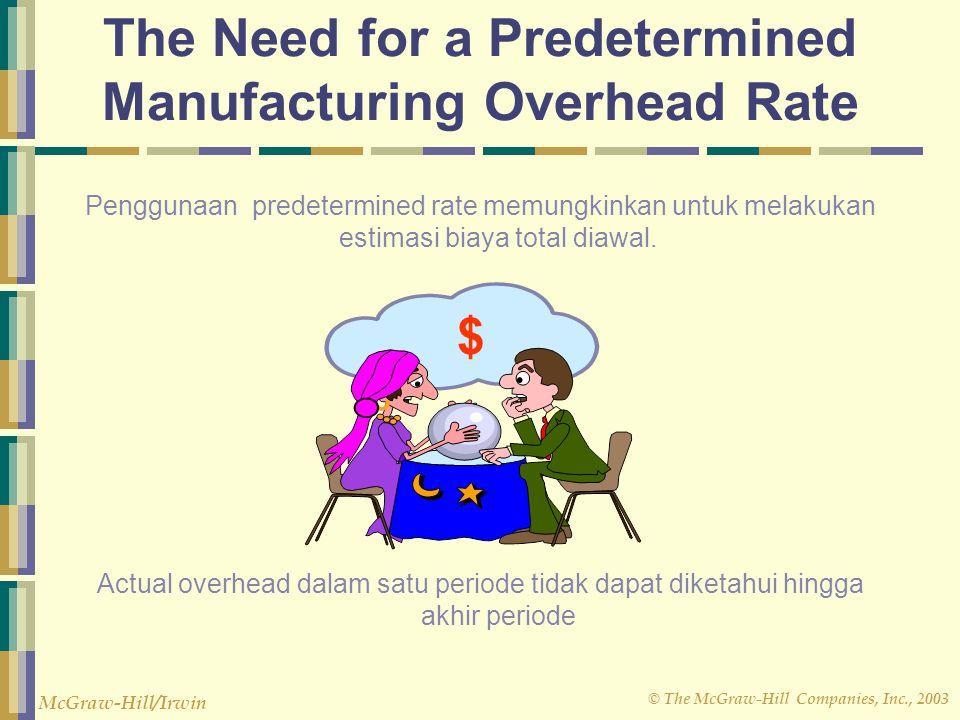 © The McGraw-Hill Companies, Inc., 2003 McGraw-Hill/Irwin Penggunaan predetermined rate memungkinkan untuk melakukan estimasi biaya total diawal. Actu