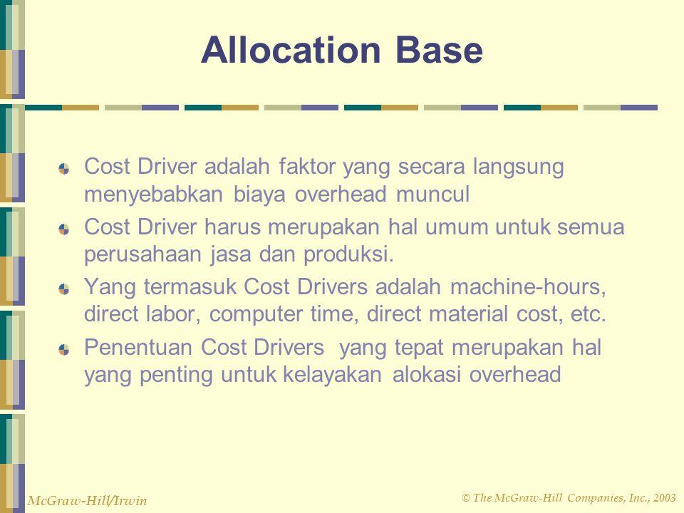 © The McGraw-Hill Companies, Inc., 2003 McGraw-Hill/Irwin Allocation Base Cost Driver adalah faktor yang secara langsung menyebabkan biaya overhead mu