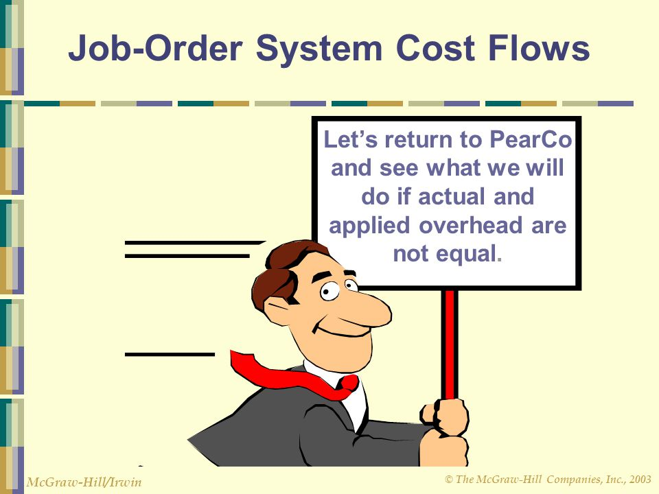 © The McGraw-Hill Companies, Inc., 2003 McGraw-Hill/Irwin Job-Order System Cost Flows Let's return to PearCo and see what we will do if actual and app