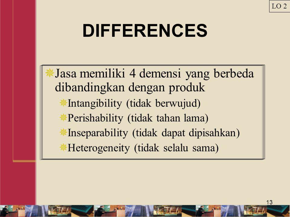 13 DIFFERENCES  Jasa memiliki 4 demensi yang berbeda dibandingkan dengan produk  Intangibility (tidak berwujud)  Perishability (tidak tahan lama)  Inseparability (tidak dapat dipisahkan)  Heterogeneity (tidak selalu sama) LO 2