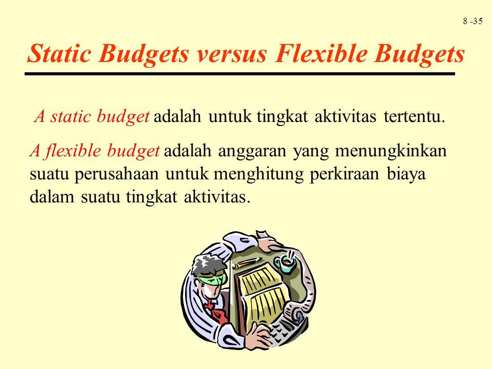 8 -35 A static budget adalah untuk tingkat aktivitas tertentu. A flexible budget adalah anggaran yang menungkinkan suatu perusahaan untuk menghitung p
