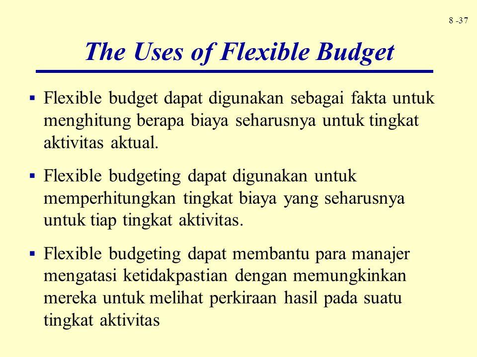 8 -37  Flexible budget dapat digunakan sebagai fakta untuk menghitung berapa biaya seharusnya untuk tingkat aktivitas aktual.  Flexible budgeting da