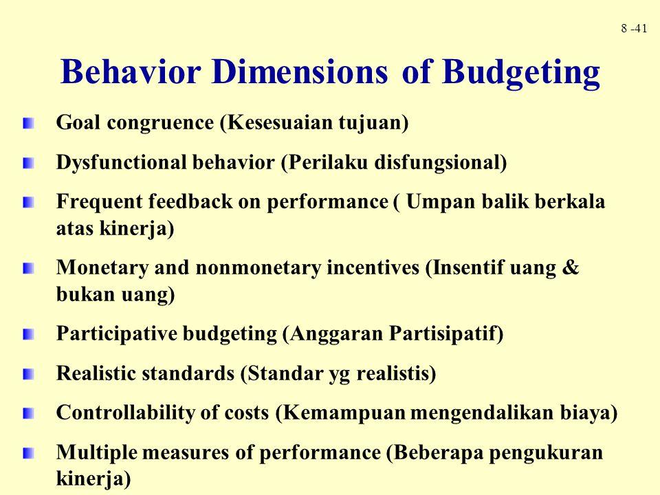 8 -41 Goal congruence (Kesesuaian tujuan) Dysfunctional behavior (Perilaku disfungsional) Frequent feedback on performance ( Umpan balik berkala atas