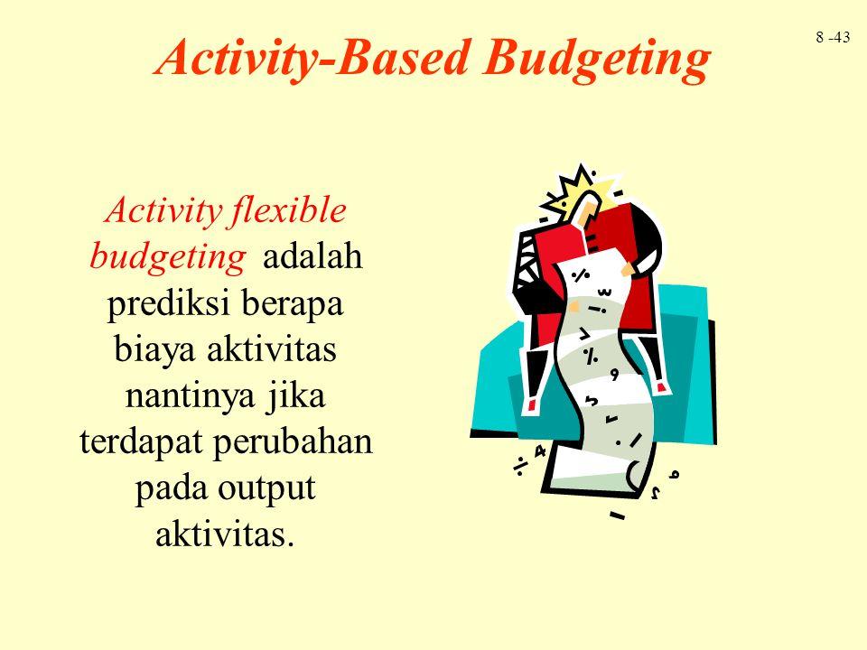 8 -43 Activity-Based Budgeting Activity flexible budgeting adalah prediksi berapa biaya aktivitas nantinya jika terdapat perubahan pada output aktivit