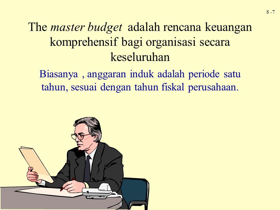 8 -7 The master budget adalah rencana keuangan komprehensif bagi organisasi secara keseluruhan Biasanya, anggaran induk adalah periode satu tahun, ses