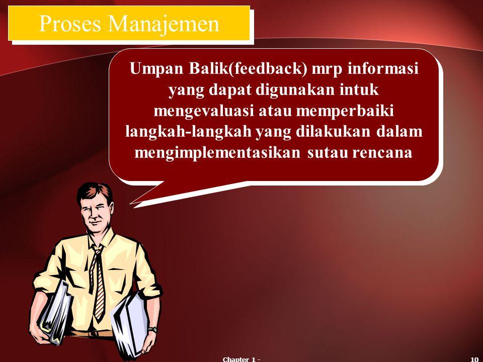 Chapter 1 -10 Umpan Balik(feedback) mrp informasi yang dapat digunakan intuk mengevaluasi atau memperbaiki langkah-langkah yang dilakukan dalam mengim
