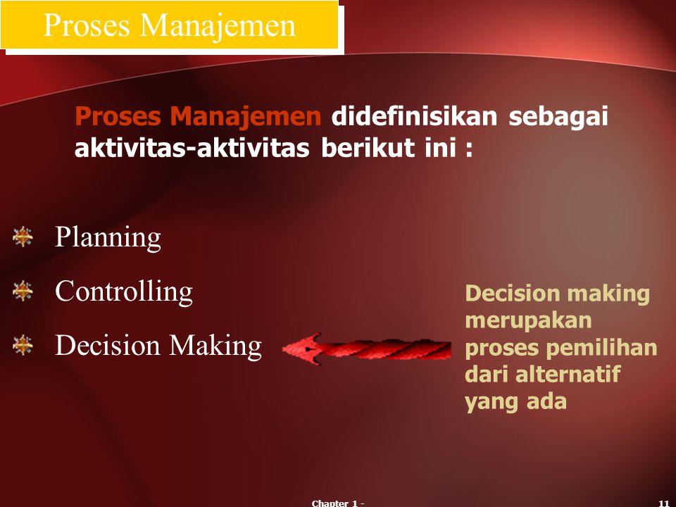 Chapter 1 -11 Decision making merupakan proses pemilihan dari alternatif yang ada Planning Controlling Decision Making Proses Manajemen Proses Manajem