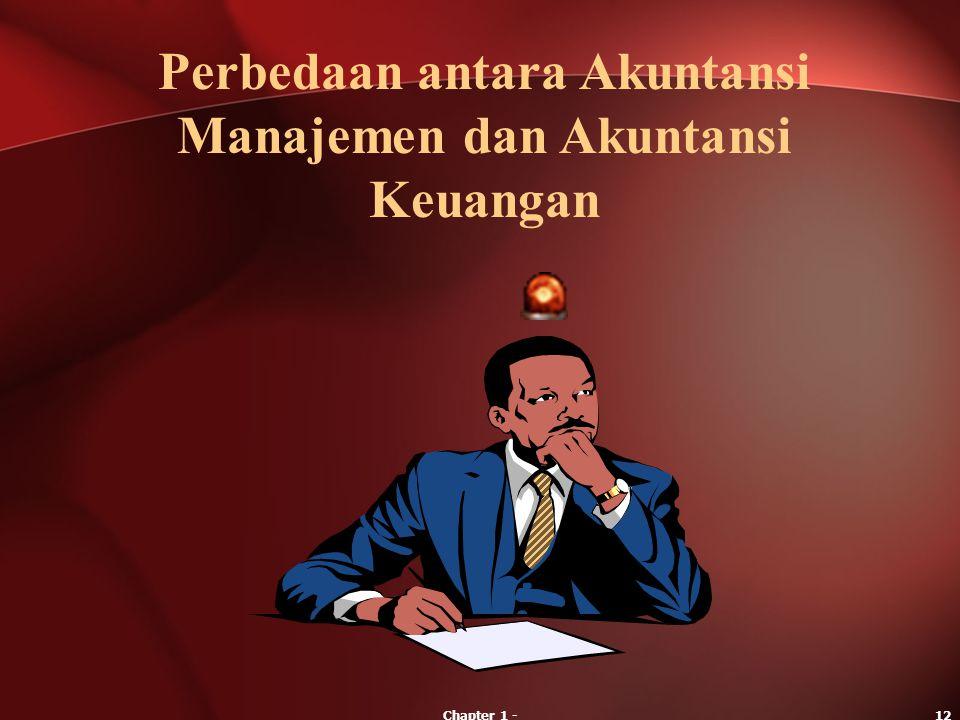 Chapter 1 -12 Perbedaan antara Akuntansi Manajemen dan Akuntansi Keuangan