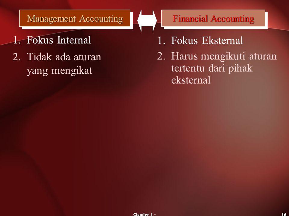 Chapter 1 -16 Management Accounting Financial Accounting 1.Fokus Internal 1.Fokus Eksternal 2.Tidak ada aturan yang mengikat 2.Harus mengikuti aturan