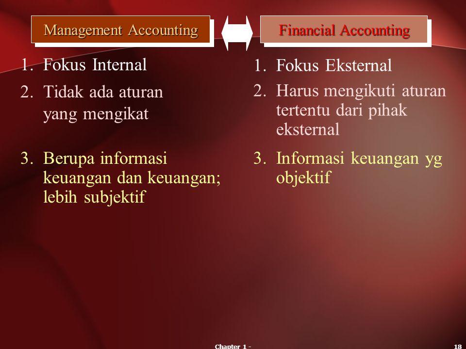 Chapter 1 -18 Management Accounting Financial Accounting 1.Fokus Internal 1.Fokus Eksternal 2.Tidak ada aturan yang mengikat 2.Harus mengikuti aturan