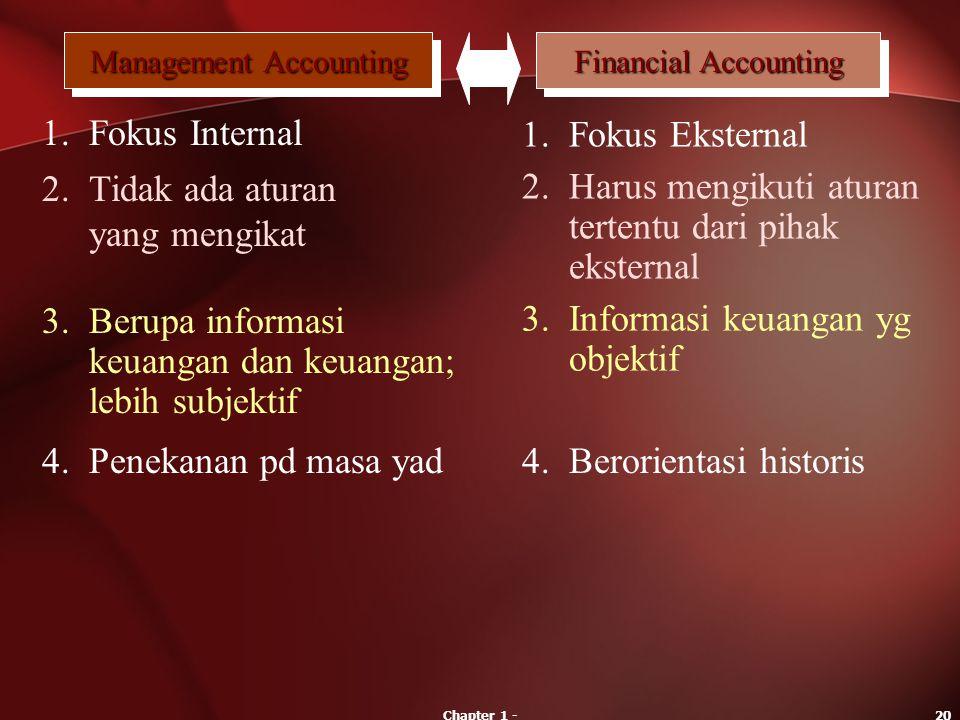 Chapter 1 -20 Management Accounting Financial Accounting 1.Fokus Internal 1.Fokus Eksternal 2.Tidak ada aturan yang mengikat 2.Harus mengikuti aturan