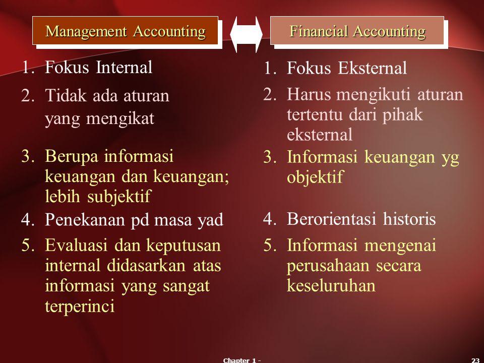 Chapter 1 -23 Management Accounting Financial Accounting 1.Fokus Internal 1.Fokus Eksternal 2.Tidak ada aturan yang mengikat 2.Harus mengikuti aturan