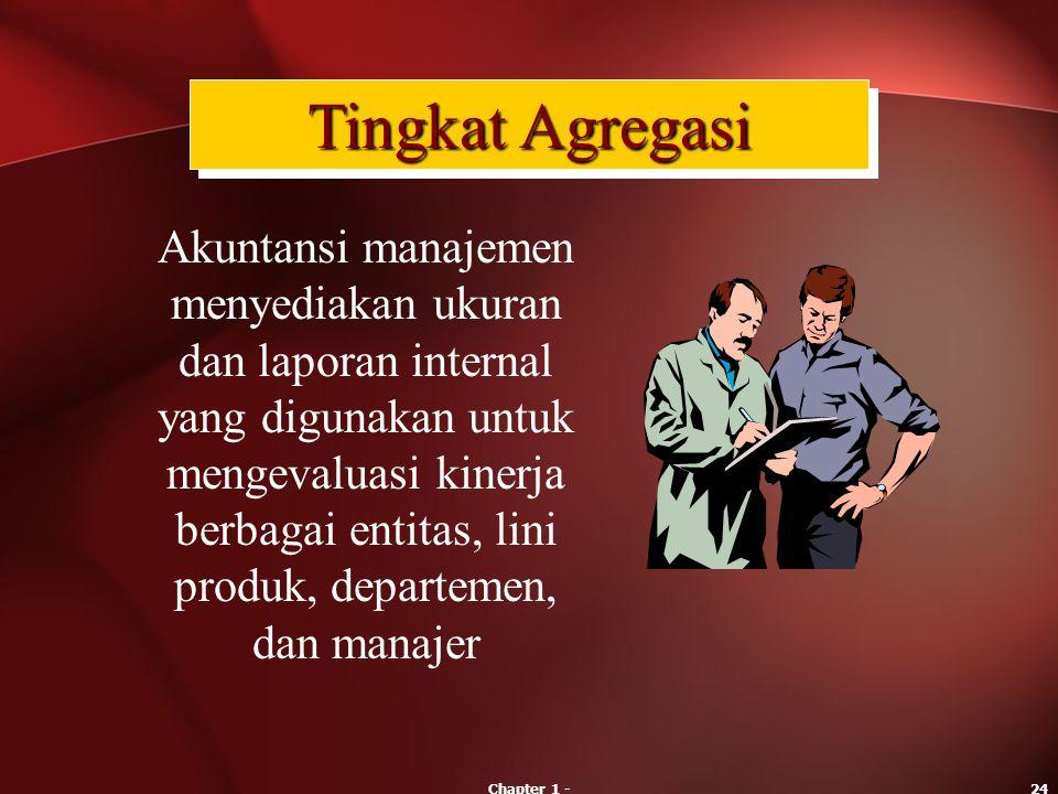 Chapter 1 -24 Akuntansi manajemen menyediakan ukuran dan laporan internal yang digunakan untuk mengevaluasi kinerja berbagai entitas, lini produk, dep