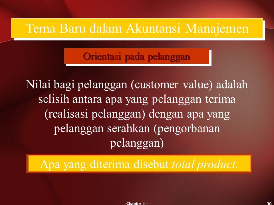 Chapter 1 -30 Tema Baru dalam Akuntansi Manajemen Orientasi pada pelanggan Nilai bagi pelanggan (customer value) adalah selisih antara apa yang pelang