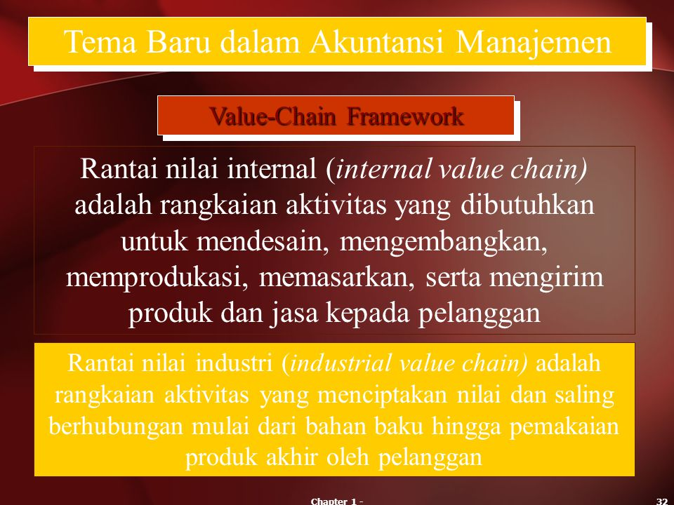 Chapter 1 -32 Tema Baru dalam Akuntansi Manajemen Value-Chain Framework Rantai nilai internal (internal value chain) adalah rangkaian aktivitas yang d
