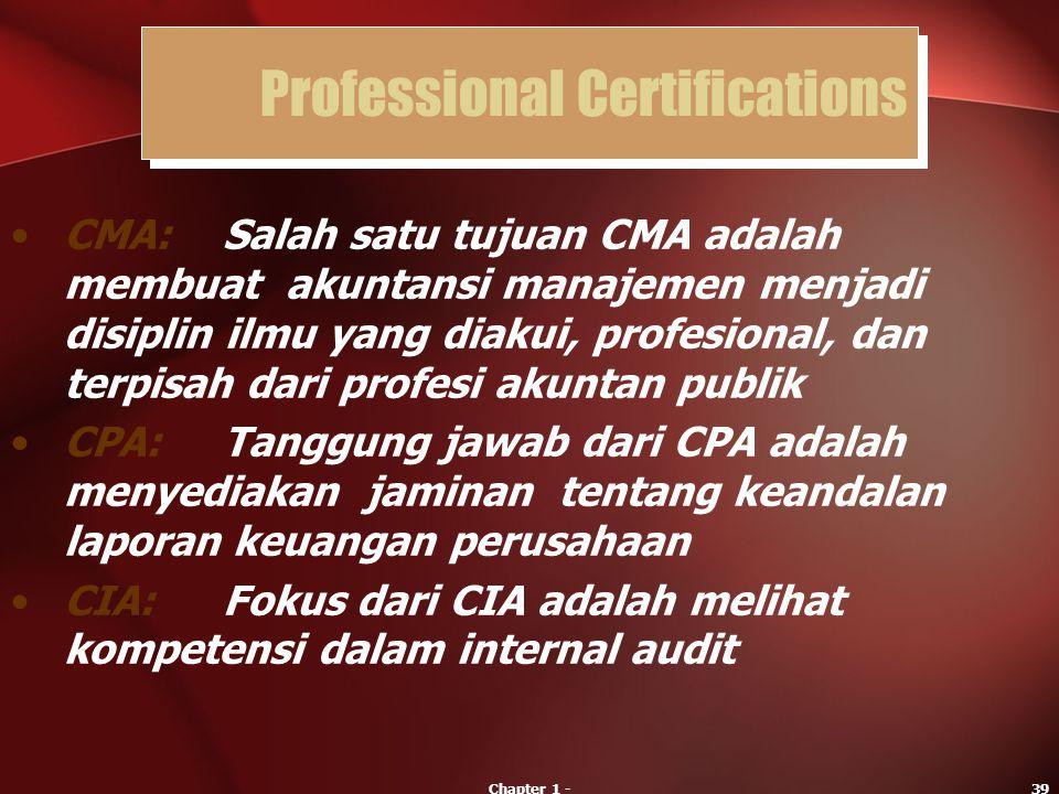 Chapter 1 -39 CMA:Salah satu tujuan CMA adalah membuat akuntansi manajemen menjadi disiplin ilmu yang diakui, profesional, dan terpisah dari profesi a
