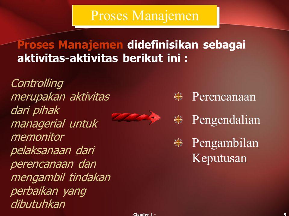 Chapter 1 -9 Controlling merupakan aktivitas dari pihak managerial untuk memonitor pelaksanaan dari perencanaan dan mengambil tindakan perbaikan yang