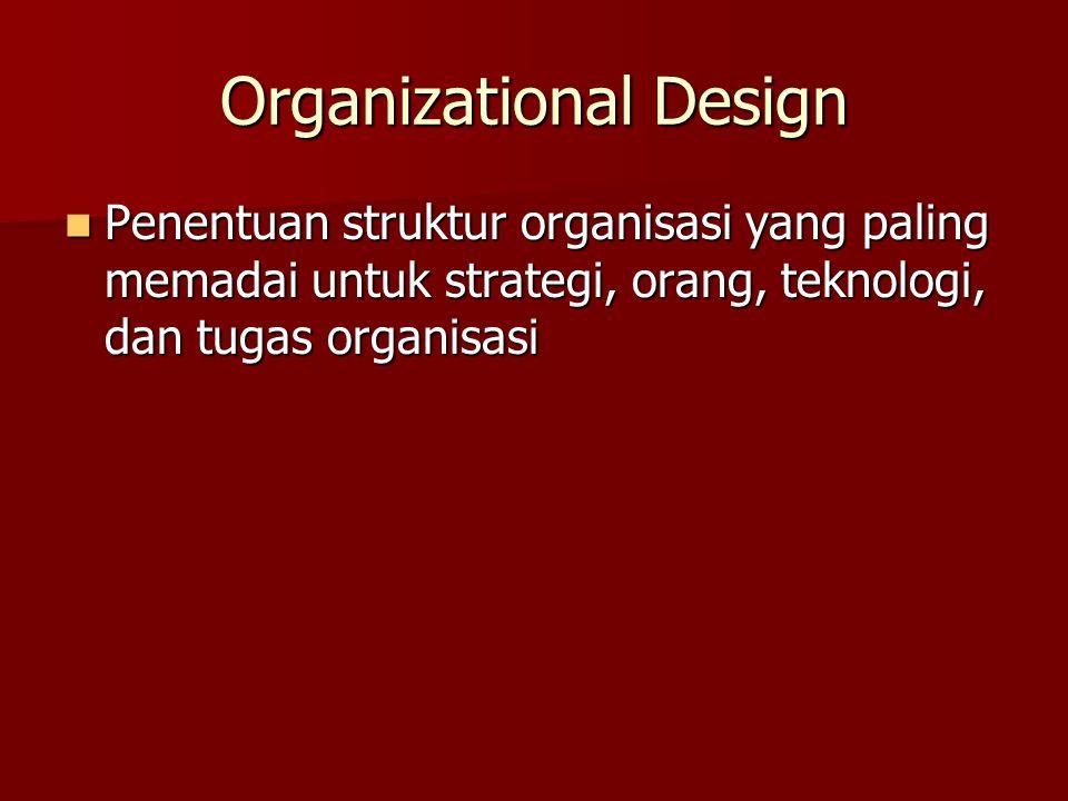 Organizational Design Penentuan struktur organisasi yang paling memadai untuk strategi, orang, teknologi, dan tugas organisasi Penentuan struktur orga