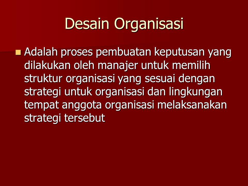 Desain Organisasi Adalah proses pembuatan keputusan yang dilakukan oleh manajer untuk memilih struktur organisasi yang sesuai dengan strategi untuk organisasi dan lingkungan tempat anggota organisasi melaksanakan strategi tersebut Adalah proses pembuatan keputusan yang dilakukan oleh manajer untuk memilih struktur organisasi yang sesuai dengan strategi untuk organisasi dan lingkungan tempat anggota organisasi melaksanakan strategi tersebut