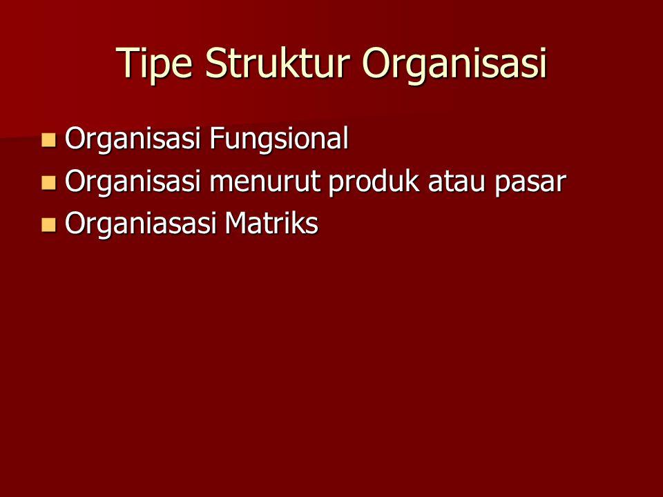 Tipe Struktur Organisasi Organisasi Fungsional Organisasi Fungsional Organisasi menurut produk atau pasar Organisasi menurut produk atau pasar Organia