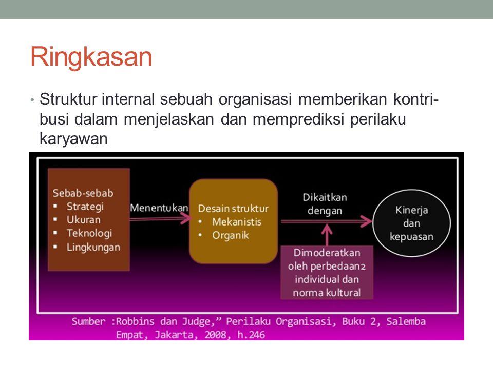 Ringkasan Struktur internal sebuah organisasi memberikan kontri- busi dalam menjelaskan dan memprediksi perilaku karyawan