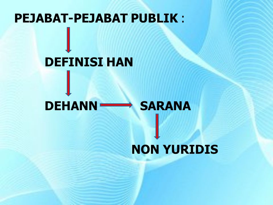PEJABAT-PEJABAT PUBLIK : DEFINISI HAN DEHANN SARANA NON YURIDIS