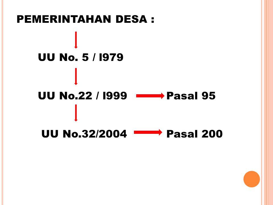 PEMERINTAHAN DESA : UU No. 5 / l979 UU No.22 / l999 Pasal 95 UU No.32/2004 Pasal 200