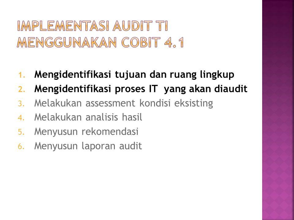 1. Mengidentifikasi tujuan dan ruang lingkup 2. Mengidentifikasi proses IT yang akan diaudit 3. Melakukan assessment kondisi eksisting 4. Melakukan an