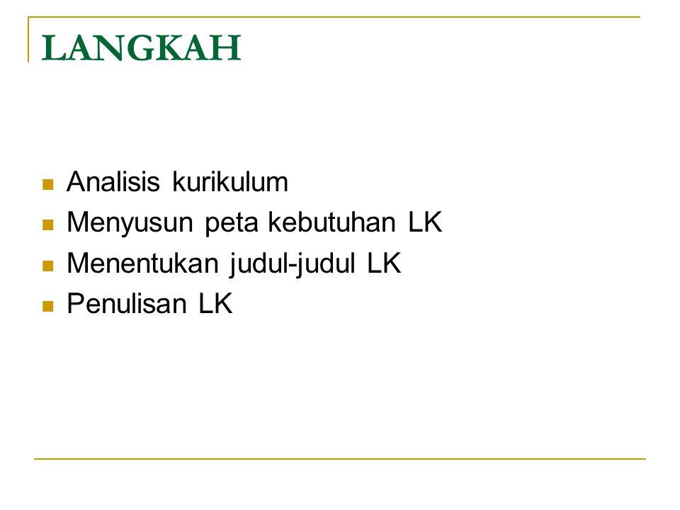 LANGKAH Analisis kurikulum Menyusun peta kebutuhan LK Menentukan judul-judul LK Penulisan LK