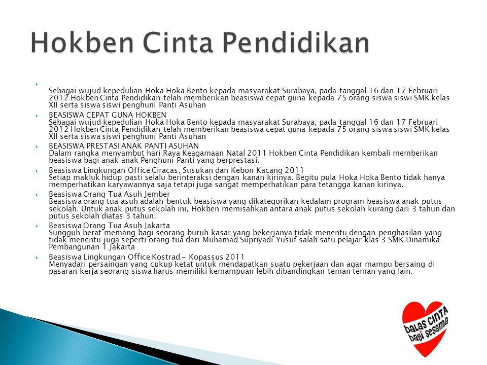  Sebagai wujud kepedulian Hoka Hoka Bento kepada masyarakat Surabaya, pada tanggal 16 dan 17 Februari 2012 Hokben Cinta Pendidikan telah memberikan b