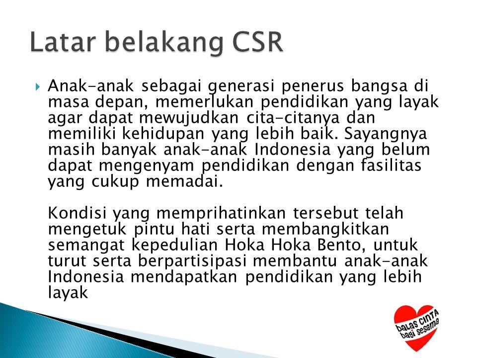  Sejalan dengan program CSR – Corporate Social Responsibility Hoka Hoka Bento yang terfokus pada pendidikan anak-anak Indonesia, maka Hoka Hoka Bento terus berusaha untuk dapat berperan serta dalam meningkatkan kualitas maupun fasilitas pendidikan anak-anak Indonesia yang kurang beruntung.