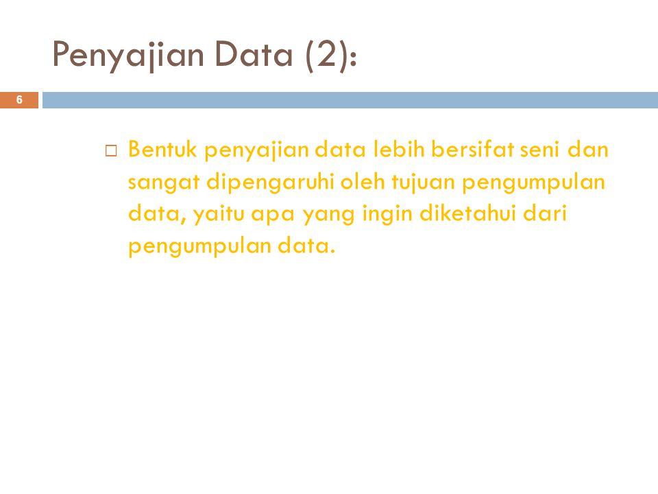 Penyajian Data (2): 6  Bentuk penyajian data lebih bersifat seni dan sangat dipengaruhi oleh tujuan pengumpulan data, yaitu apa yang ingin diketahui