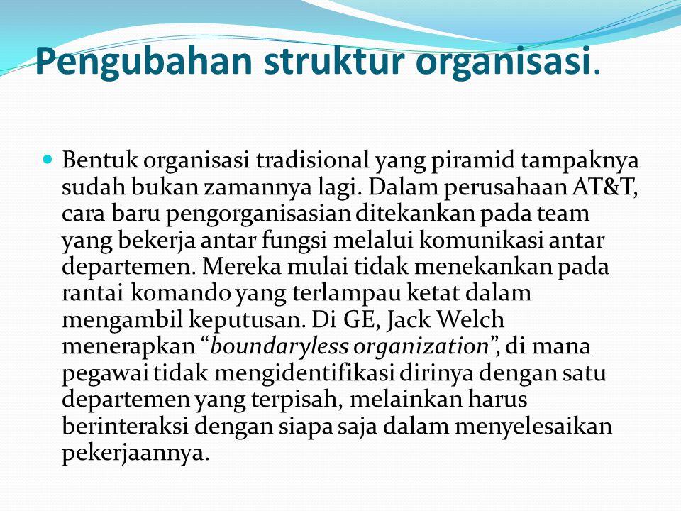 Pengubahan struktur organisasi.