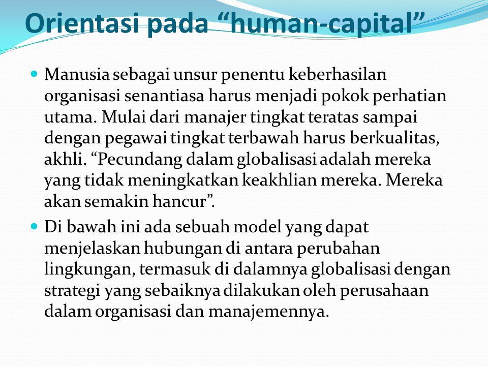 Orientasi pada human-capital Manusia sebagai unsur penentu keberhasilan organisasi senantiasa harus menjadi pokok perhatian utama.
