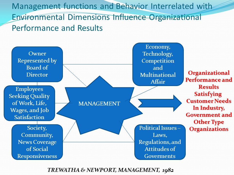 Management functions and Behavior Interrelated with Environmental Dimensions Influence Organizational Performance and Results Owner Represented by Boa