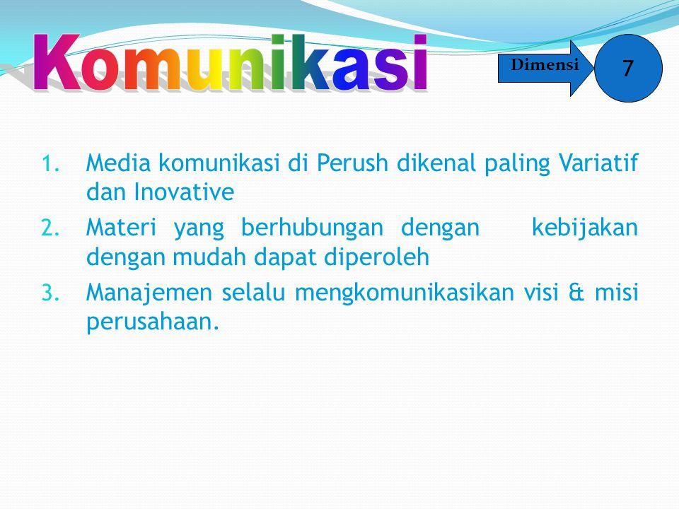 1. Media komunikasi di Perush dikenal paling Variatif dan Inovative 2. Materi yang berhubungan dengan kebijakan dengan mudah dapat diperoleh 3. Manaje