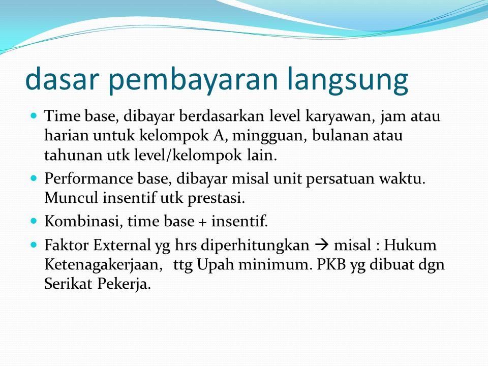 dasar pembayaran langsung Time base, dibayar berdasarkan level karyawan, jam atau harian untuk kelompok A, mingguan, bulanan atau tahunan utk level/ke