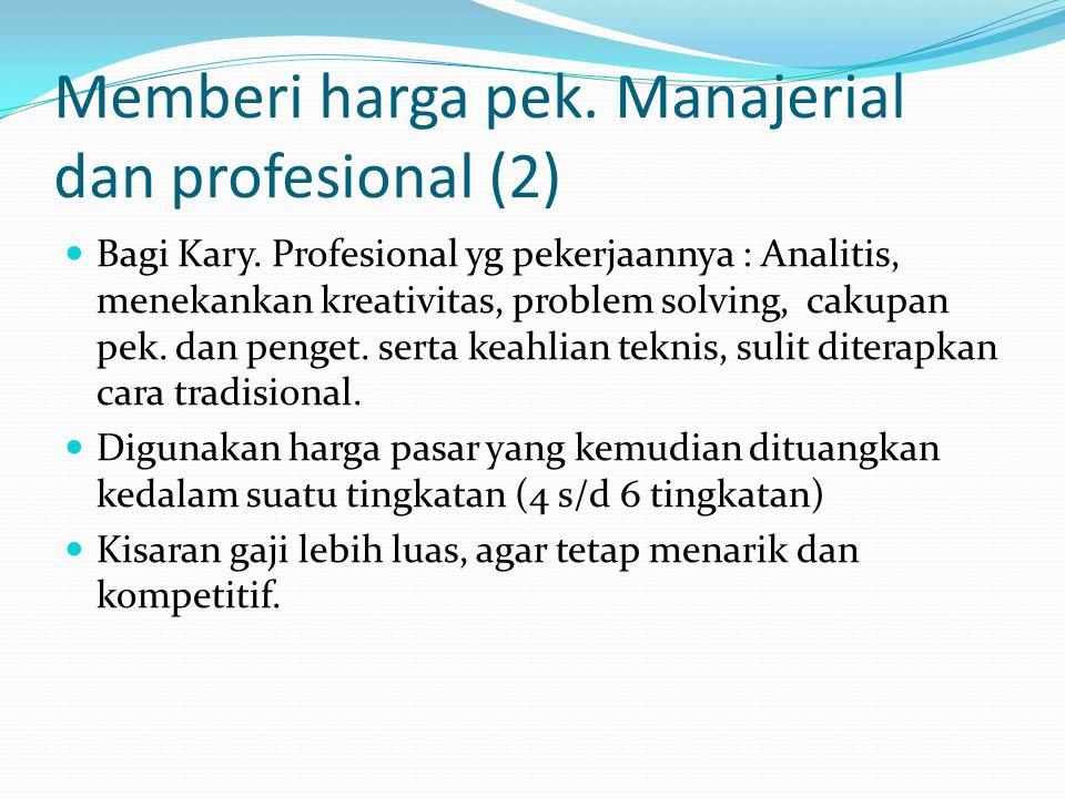Memberi harga pek. Manajerial dan profesional (2) Bagi Kary. Profesional yg pekerjaannya : Analitis, menekankan kreativitas, problem solving, cakupan
