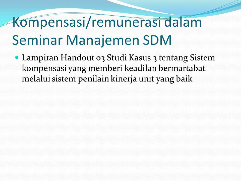 Kompensasi/remunerasi dalam Seminar Manajemen SDM Lampiran Handout 03 Studi Kasus 3 tentang Sistem kompensasi yang memberi keadilan bermartabat melalu