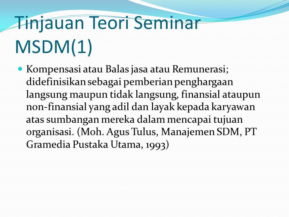 Tinjauan Teori Seminar MSDM(1) Kompensasi atau Balas jasa atau Remunerasi; didefinisikan sebagai pemberian penghargaan langsung maupun tidak langsung,