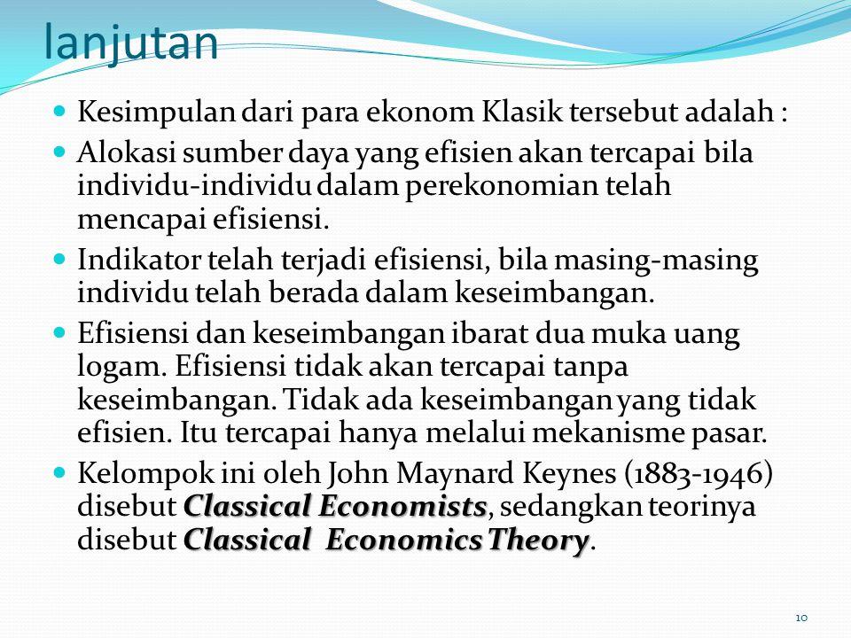 lanjutan Kesimpulan dari para ekonom Klasik tersebut adalah : Alokasi sumber daya yang efisien akan tercapai bila individu-individu dalam perekonomian